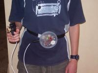 close-up of lasertag device being worn by person