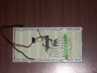 LED flasher on breadboard